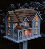 Kingsgate Cottage Lighted Birdhouse and Pole Set, White