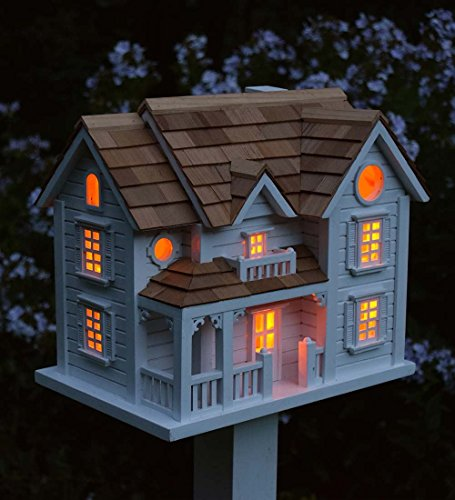 Kingsgate Cottage Lighted Birdhouse and Pole Set, White by Plow & Hearth