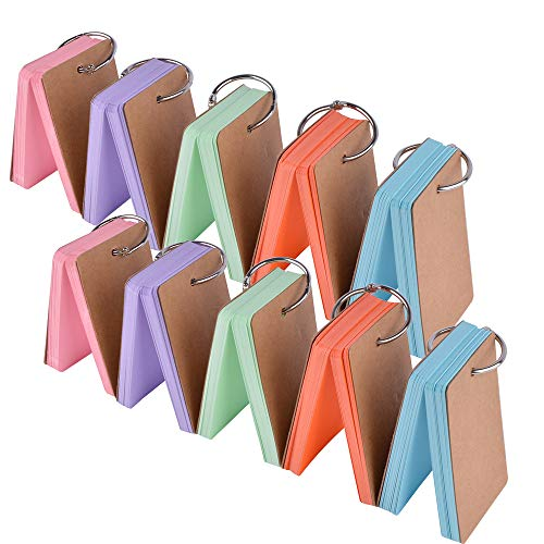 Cehomi 5 Color Flash Cards Index Cards  Multicolor Note Cards with Binder  Ring  Blank Kraft Paper Easy Flip DIY Greeting Cards(10 Pack,50  Pieces/Pack,