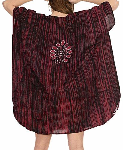 LA i125 Marrone 100 sera camicia camicetta da caftano pura LEELA breve cotone batik notte caftano rOra6qRw
