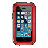 iPhone 6/6s Case, Tomplus Shockproof Dustproof Waterproof Aluminum Alloy Metal Tempered Glass Cover Case For Apple iPhone 6/6s 4.7 inch (Z-Red)