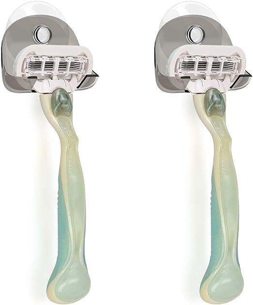 kwmobile 2x Soporte para maquinilla de afeitar con ventosa - Organizador adhesivo para el baño vidrio y azulejos - negro/transparente: Amazon.es: Salud y cuidado personal