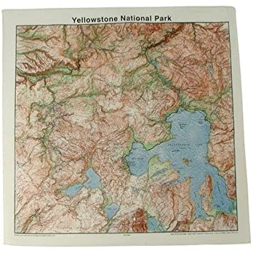 Topographic Map Of Yellowstone.The Printed Image Topographic Map Bandana Yellowstone Charts Maps