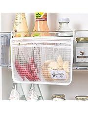zebroau Hängande nätväska som andas, kylskåpsförvaring nät hängande väskor, återanvändbar bärbar krydda mat mellanmål nätväska dubbelfack kök frukt förvaringsväska
