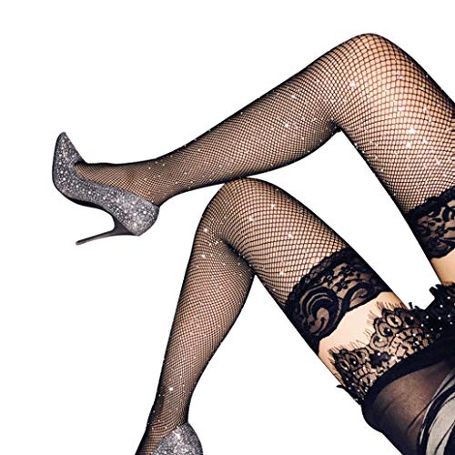 Stockings Women's Thigh High Tights Sparkle Rhinestone Lace Top Fishnet