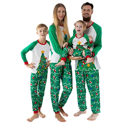 SOMESHINE Christmas Matching Family Pajamas Set Parent-Child Suit Sleepwear Xmas Tree Tops Couples Toddler Outfit Homewear(Men: L) Green (Tree Down Burnt Christmas)