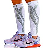 BLITZU Calf Compression Sleeves For Women & Men Leg Compression Socks for Runners, Shin Splint, Recovery from Injury & Pain Relief Great for Running, Maternity, Travel, Nurses White L-XL
