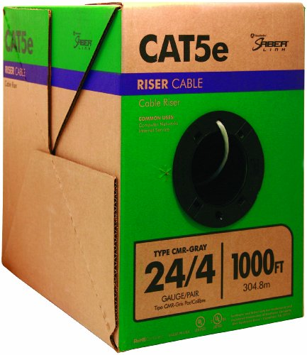 Southwire 56917949 1000-Feet 24-Gauge 4 Pair CMR Category 5e Riser Cable, Gray