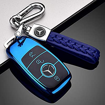 121Fruit Way Suit for Mercedes Benz Key Fob Cover, Premium Fashion Appearance Key Case Cover Mercedes Benz E Class, 2020 up S Class, 2020 2020 W213 Keyless Smart Key Fob_Blue: Automotive