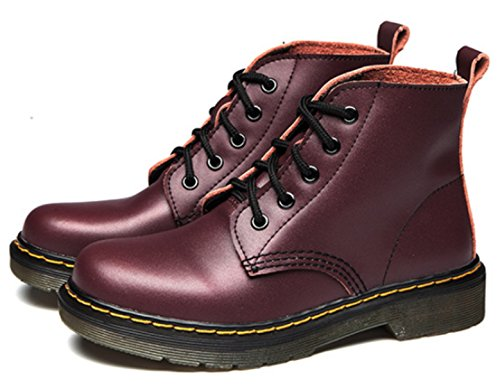 up Women's Ankle Retro Red DADAWEN C Cherry Boots Lace nxtHxqB