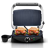 Wilbur Panini Press, Sandwich Press, Gourmet Sandwich Maker, Panini Maker and Panini Grill, Sandwich Grill, Electric Indoor Grill with Stainless Steel Lid and Nonstick Plates, 1090W, Silver and Black