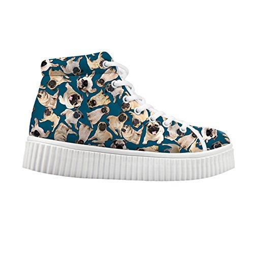 Cute Top Sneakers Jeans High Pugs HUGS IDEA Shoes 1 Women 7AwqYZ5