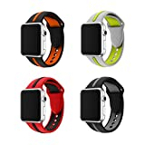 LEEHUR for Apple Watch Bands, 4 Pcs Soft Silicone Replacement Wrist Strap Splicing Sport Style Bracelet for Apple Watch Series 2/Series 1/ Sport /Edition/ NIKE+ 42mm