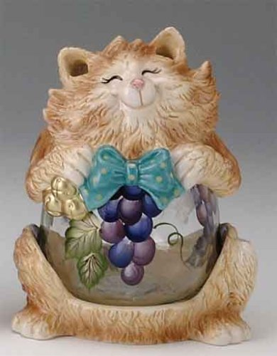 Cat Glass Belly Candle Holder/Candy Jar