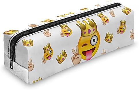 Fringoo - Estuche con cremallera, diseño de emoticonos, color Emoji King: Amazon.es: Oficina y papelería
