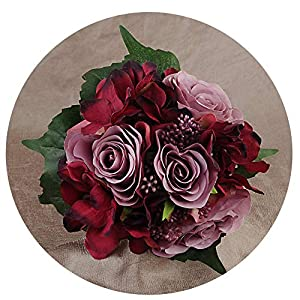 WodCht Beautiful Wedding Bouquet Bridal Holding Flowers Wine-Red Rose Artificial Flowers Bridal Bouquets 8