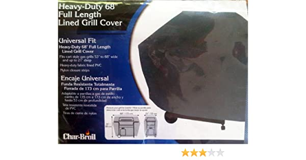 Amazon.com : Char-Broil Heavy-Duty Full Length Lined Grill Cover, 68