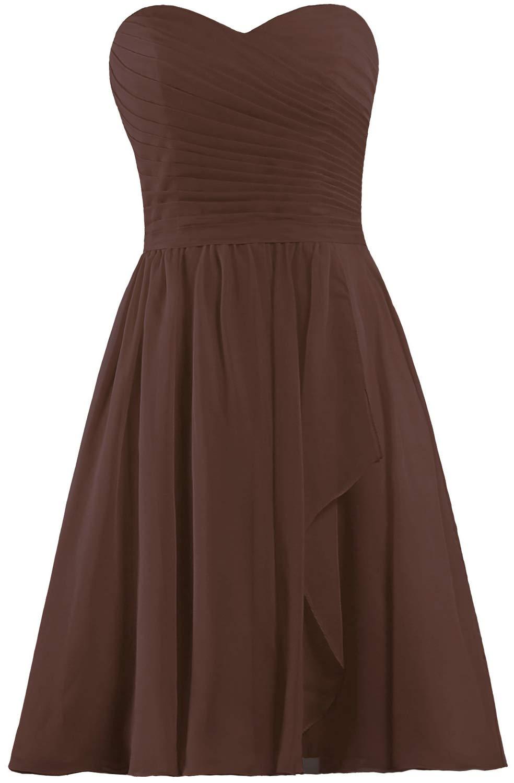 ANTS Women's Sweetheart Short Bridesmaid Dresses Chiffon Wedding Party Dress Size 6 US Chocolate