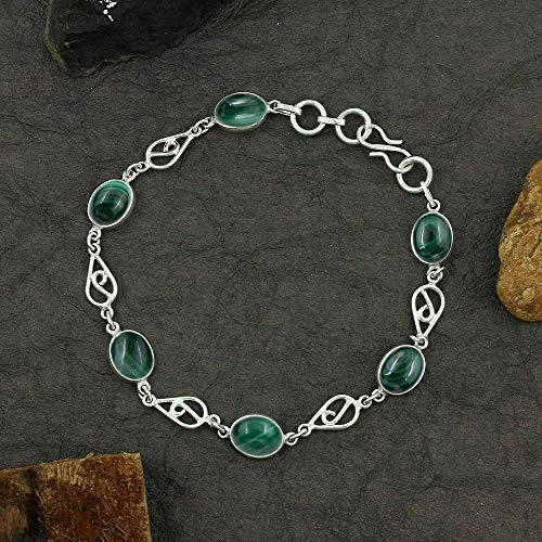 Malachite Link Bracelet by Tisha : Charm Engagement Bracelet For Girls, 925 Sterling Silver Anniversary Bracelet For Women, Handmade Wedding Bracelet (17.16 Ctw)