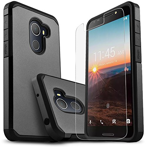 Alcatel T-Mobile REVVL Case, Alcatel A30 Plus Case, Alcatel A30 Fierce Case, Alcatel Walter Case, Starshop [Shock Absorption] Dual Layers Protective Phone Cover with [HD Screen Protector] (Black)