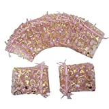 Ankirol 100pcs Mini Sheer Organza Wedding Favor Bags 3.8x4.5'' Pink Heart Drawstring Pouches (pink)