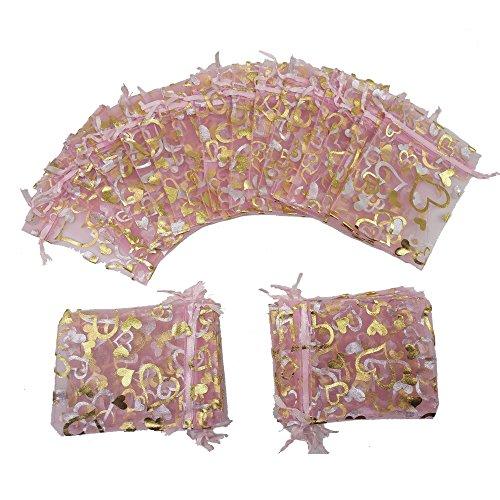 Ankirol 100pcs Mini Sheer Organza Wedding Favor Bags 3.8x4.5'' Pink Heart Drawstring Pouches (pink)
