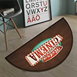 Suchashome Movie Theater Half round doormat outside Retro Style Cinema Sign Design Film Festival Hollywood Theme Bathroom Mat for tub Non Slip Brown Turquoise Vermilion size:31.5''x19.7''