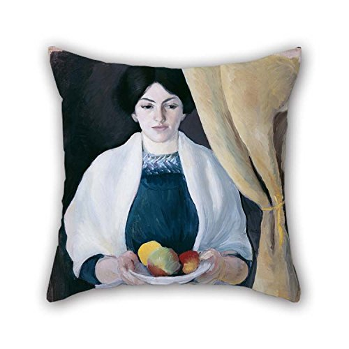 (Oil Painting Macke, August - Portrait With Apples Throw Cushion Covers 16 X 16 Inches / 40 By 40 Cm Best Choice For Kids Room Wife Boy Friend Kids Boys Teens Pub With Twice Sides for Christmas)