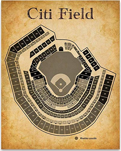 Citi Field Baseball Stadium Seating Chart Art Print - 11x14 Unframed Art Print - Great Sports Bar Decor and Gift Under $15 for Baseball - Personalized Print Stadium