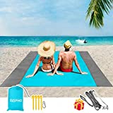 ISOPHO Sand Proof Beach Blanket 8' x 9' for 7 Adults Waterproof Beach Mat, Extra Large Lightweight Picnic Mat, Compact Pocket Blanket w/Bag, Sand Proof Mat for Travel, Camping, Hiking