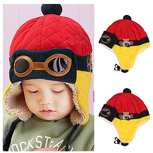 CieKen Baby Girls Boys Hats Cute Winter Warm Cap Hat Scarf Beanie Pilot Aviator Crochet Earflap (Red)