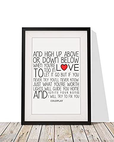 Coldplay Fix You Song Lyrics Framed Print 12x10 Handmade Glazed