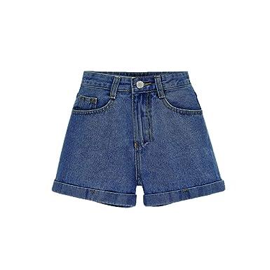 YuanDiann Femme Jeans Shorts Taille Haute Basique Pantalon Court Grande  Taille Lâche Short Été Cowboy Large à Jambes Pantalon  Amazon.fr  Vêtements  et ... 8c1cca4a0a5