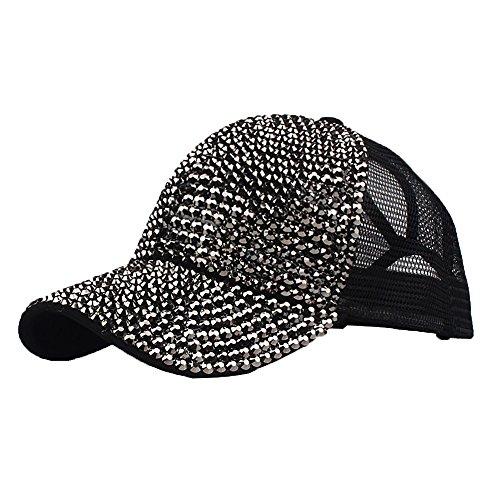 Women's Fashion Truck Dad Hat Fully Studded Rhinestone Adjustable Cotton Baseball Cap Sparkle Mesh Back Hat (Black)