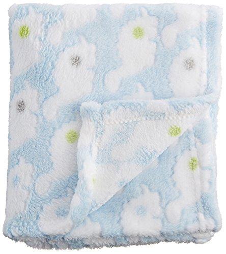 """Nuby Cuddly Soft Plush Fleece Baby Blanket, Blue, 30"""" x 36"""""""