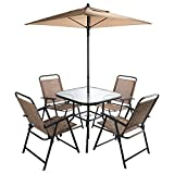 Cheap CO-Z 6 Pieces Outdoor Folding Patio Dining Set with Table, 4 Chairs, Umbrella & Built-In Base
