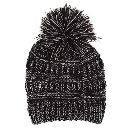 Price comparison product image okkmni Baby Hat Cute Toddler Kids Beanie Warm for Fall Winter Knit Children's Winter Hat Beanie for Boys and Girls (Black+Gray(Two Tone))