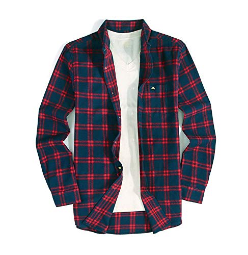 (Mens Button Down Long-Sleeve Regular-Fit Plaid Flannel Casual)