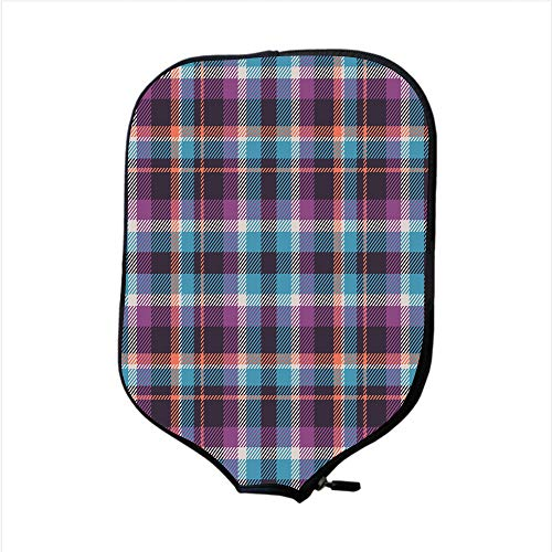 (Neoprene Pickleball Paddle Racket Cover Case,Checkered,Celtic Tartan Irish Culture Scotland Country Antique Tradition Tile Decorative,Violet Light Blue Salmon,Fit For Most Rackets - Protect Your Paddl)