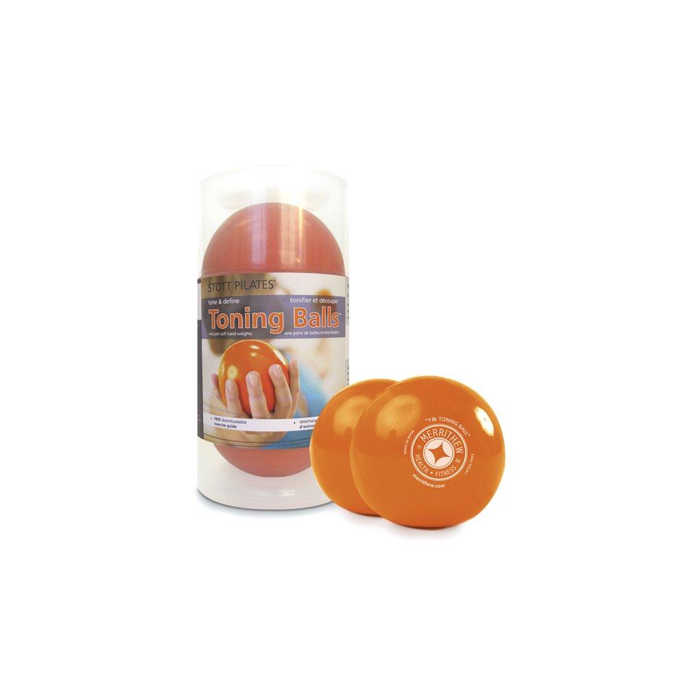 STOTT PILATES Toning Ball, Two-Pack (Orange), 1 lbs / 0.45 kg Each