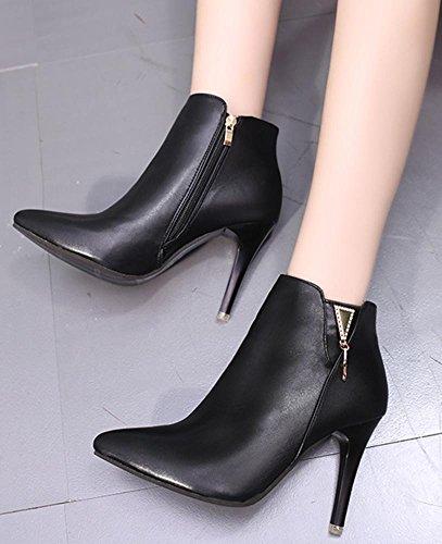 Toe Pointed Easemax High Retro Women's Ankle High Stiletto Black Boots Martin Zipper Heeled Side Short q8Zxfgq