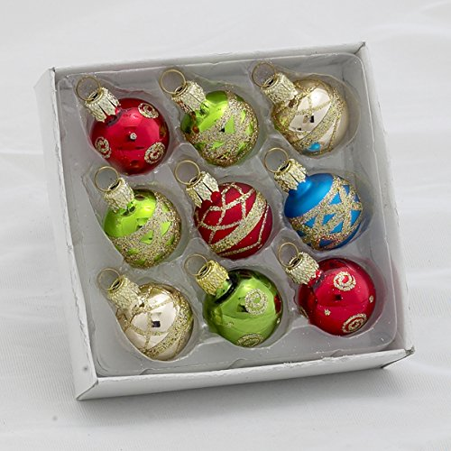 Kurt Adler Petite Treasures Multi Color Ball Christmas Ornament, Set of 9 ()