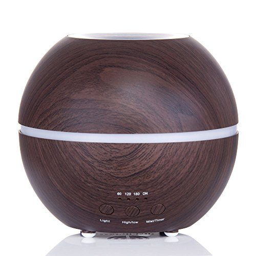 MIU COLOR 300 Milliliter Essential Oil Diffuser with Timer and Seven Color LED, Dark Wood Grain (Essential Oil Diffuser Wood compare prices)
