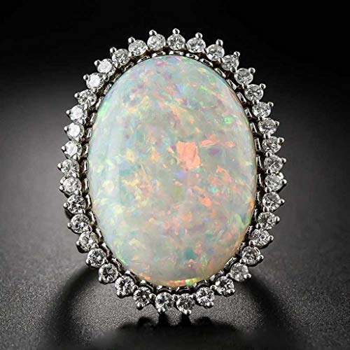 Sinwo Rings for Women Opal Ring Geometric Oval Openwork Ring Promise Engagement Ring Jewelry Gift (Silver, 7)