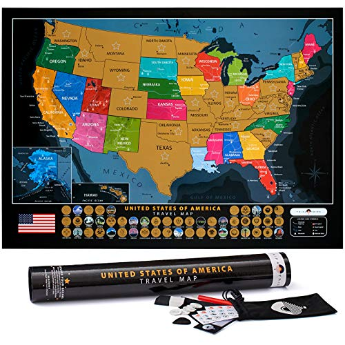 Scratch Off United States Map - with US National Parks & 50 USA Landmarks - Includes Full Accessories Set & eBook - Premium Scratch Off USA Map for Travelers - Fun United States Travel Map Poster Gift