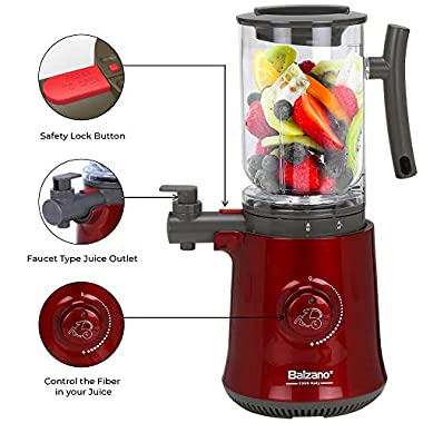 Balzano Yoga Blender/Smoothie Maker/Juicer/Soup Maker with Auto Seed Separation and Immunity Booster - Metallic Red 13