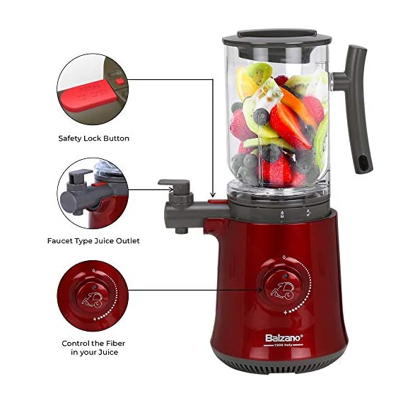 Balzano Yoga Blender/Smoothie Maker/Juicer/Soup Maker with Auto Seed Separation and Immunity Booster - Metallic Red 5