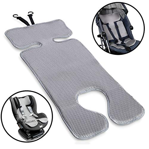 Lebogner 3D Air Mesh Cool Baby Seat Liner for Strollers, Car Seats, Jogger, Bouncer and More, Thick Cushion Seat Pad Protector, Supports Newborns, Infants, and Toddlers, Installs Quick and Easy, Grey