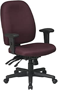 Office Star Multi Function Ergonomic Chair with Ratchet Back Height Adjustment and Adjustable Soft Padded Arms, Burgundy