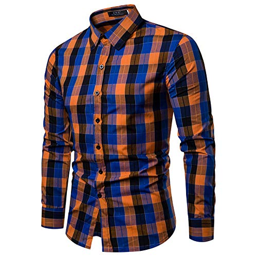 WOCACHI Final Clear Out Mens Plaid Button Shirt Checkered Lattice Long Sleeve Fit Bottoming Tops Autumn Winter Long Sleeve Tops Pocket Solid Dress Shirts Down Twill Casual